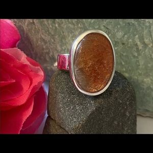Sunstone Ring size 7 silver stamped 925